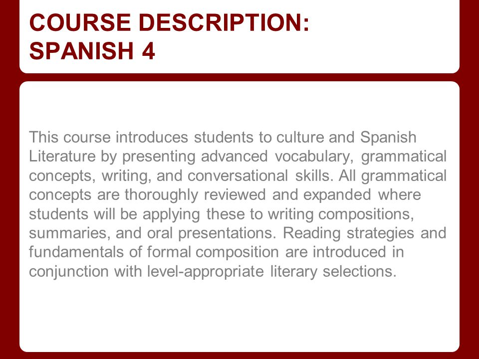 GRADE COMPONENTS FOR SPANISH 2 & 3