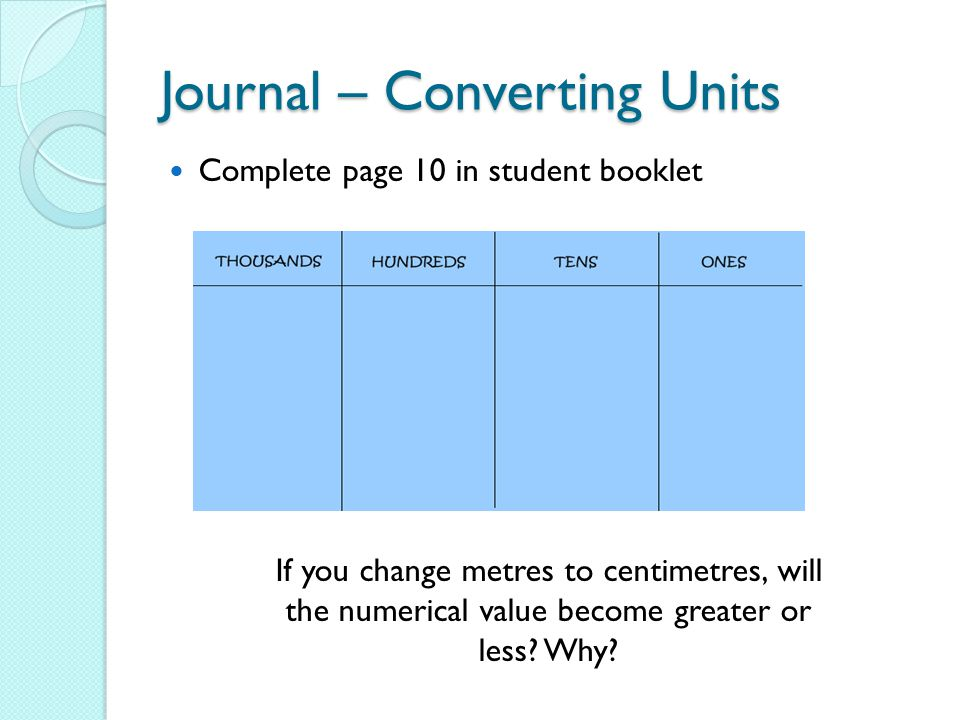 Journal – Converting Units