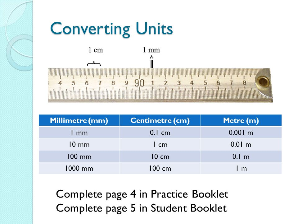 Converting Units Complete page 4 in Practice Booklet