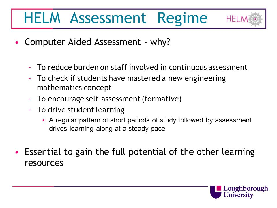 HELM Assessment Regime