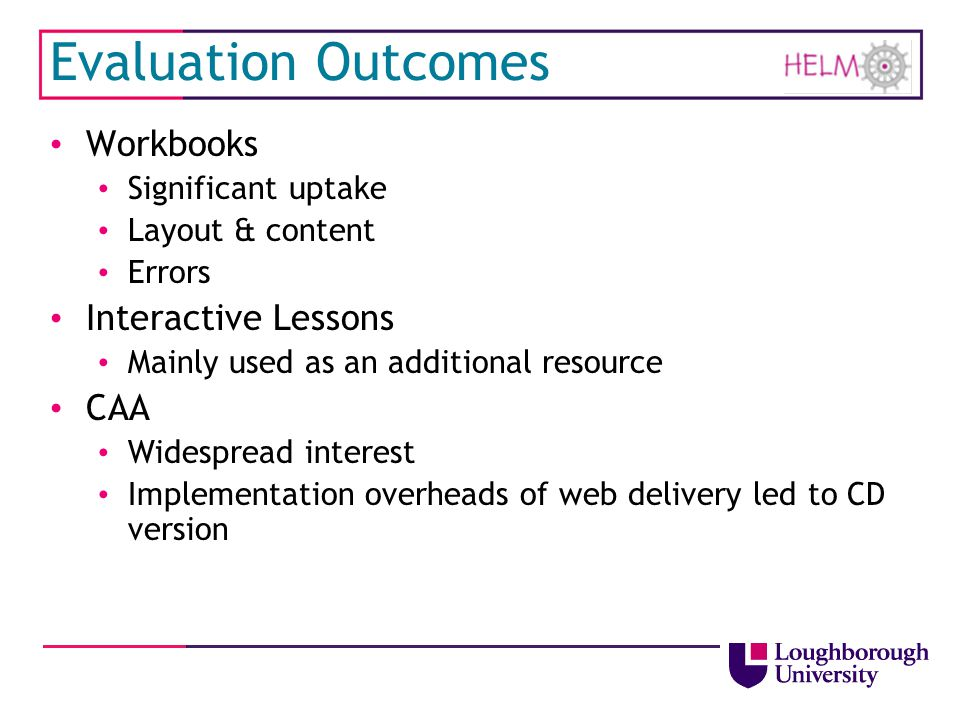 Evaluation Outcomes Workbooks Interactive Lessons CAA