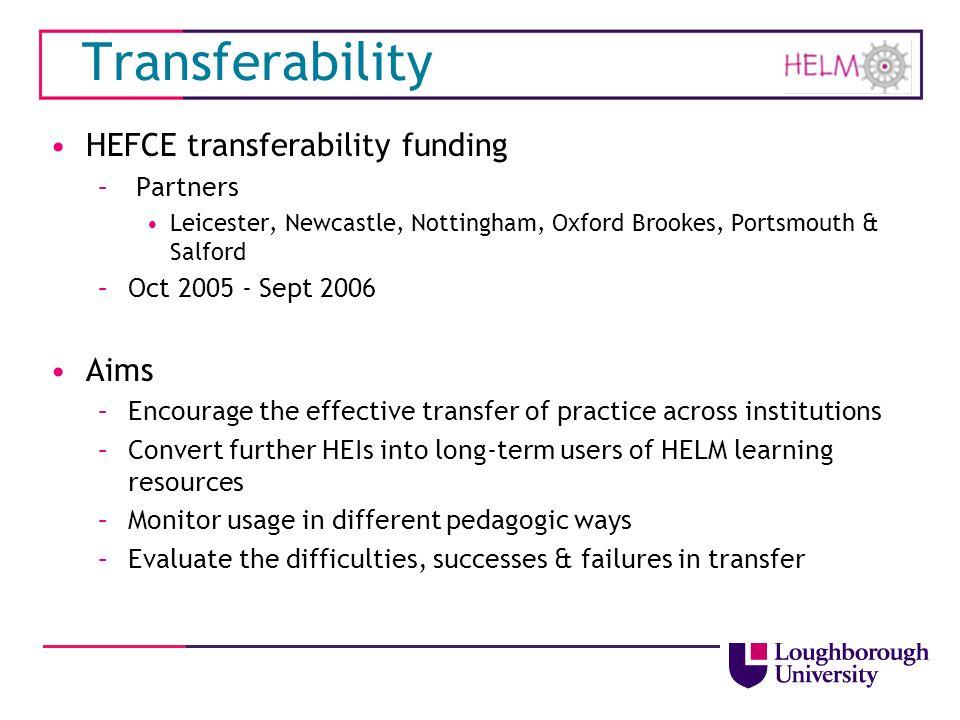 Transferability HEFCE transferability funding Aims Partners