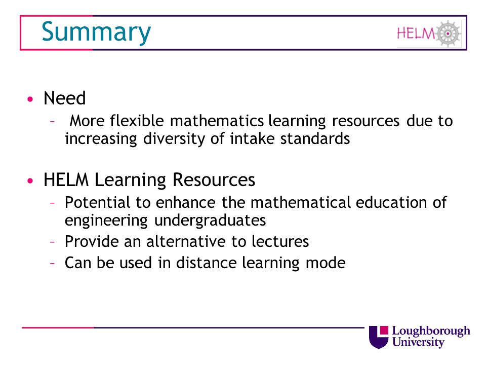 Summary Need HELM Learning Resources