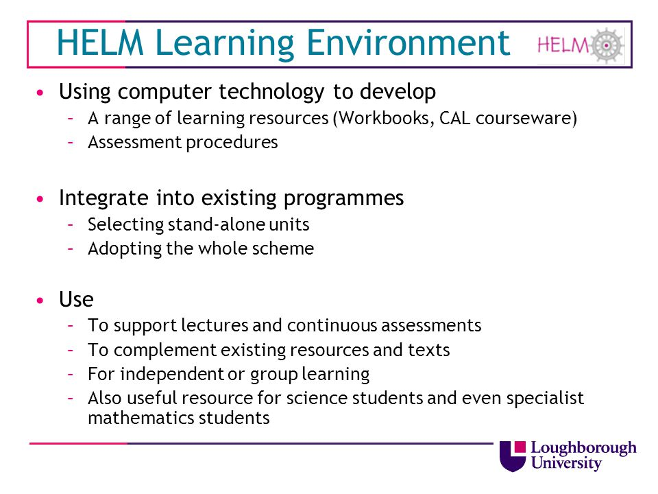 HELM Learning Environment