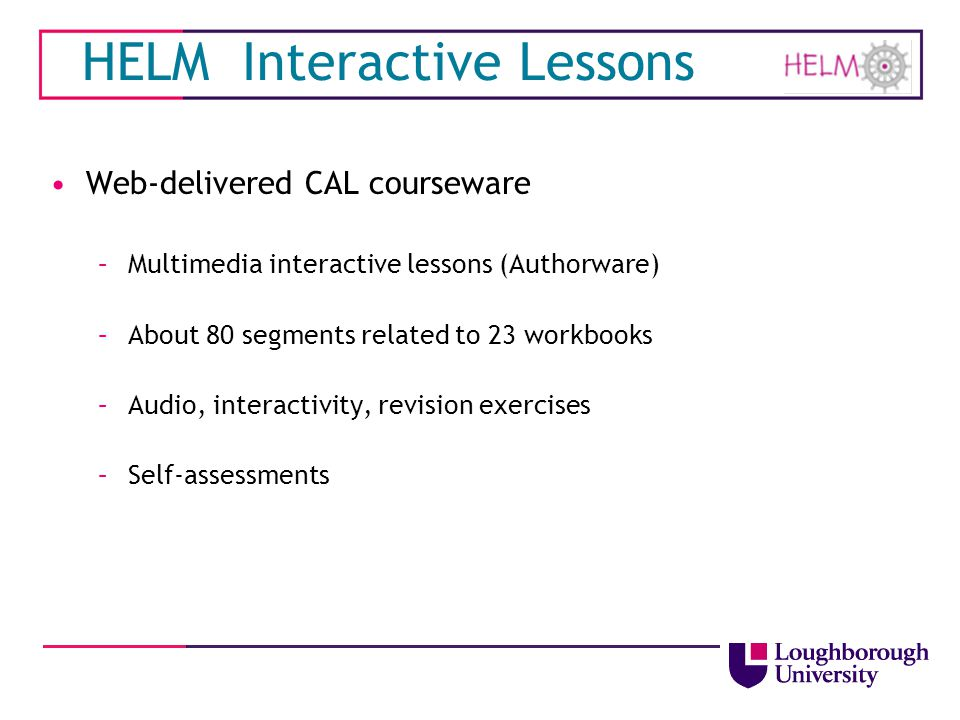 HELM Interactive Lessons