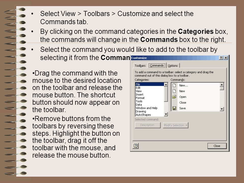 Select View > Toolbars > Customize and select the Commands tab.