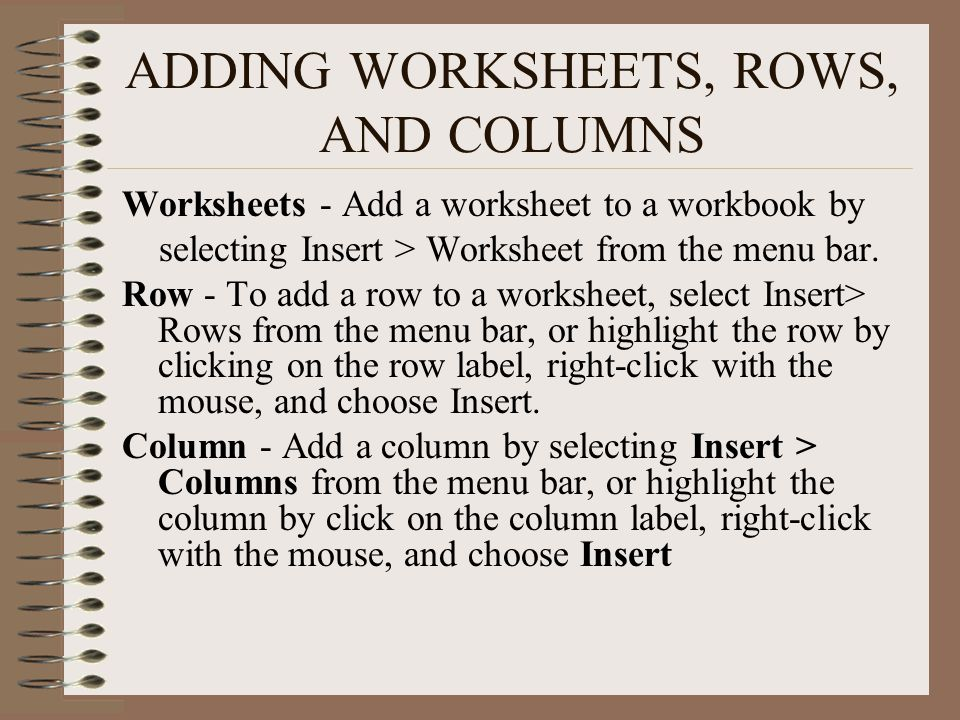 ADDING WORKSHEETS, ROWS, AND COLUMNS