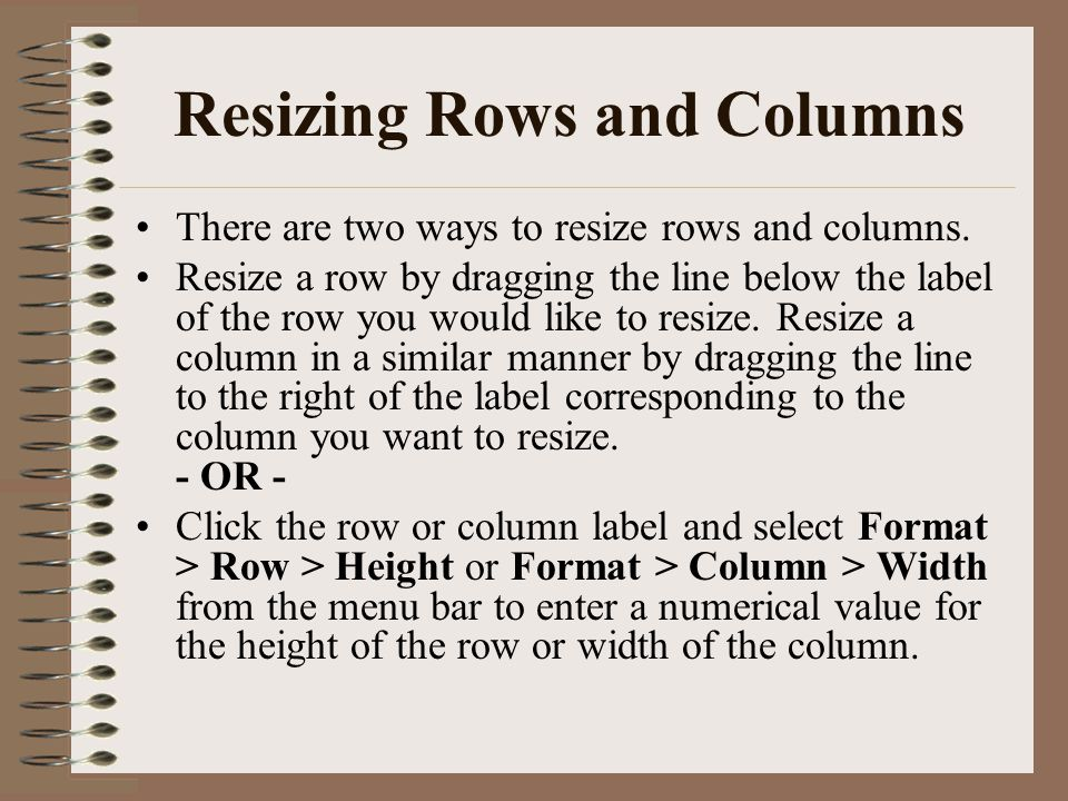 Resizing Rows and Columns