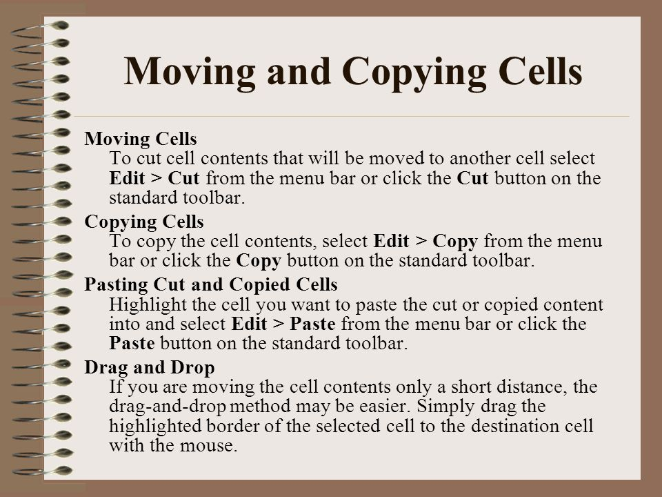 Moving and Copying Cells