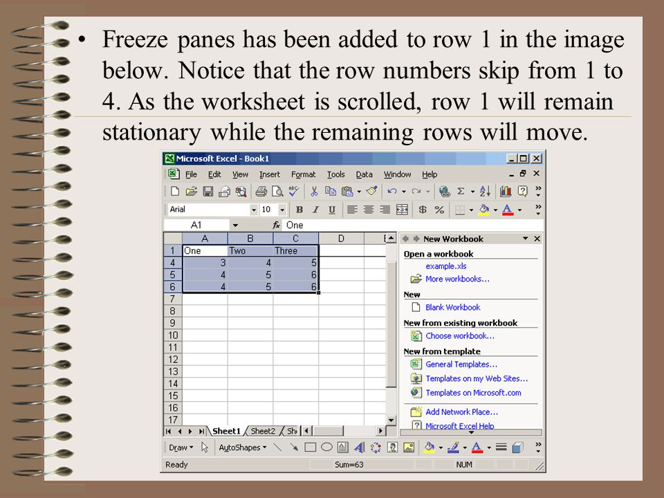 Freeze panes has been added to row 1 in the image below