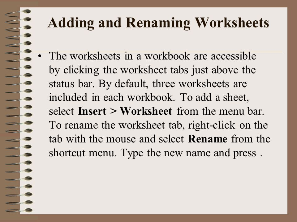 Adding and Renaming Worksheets