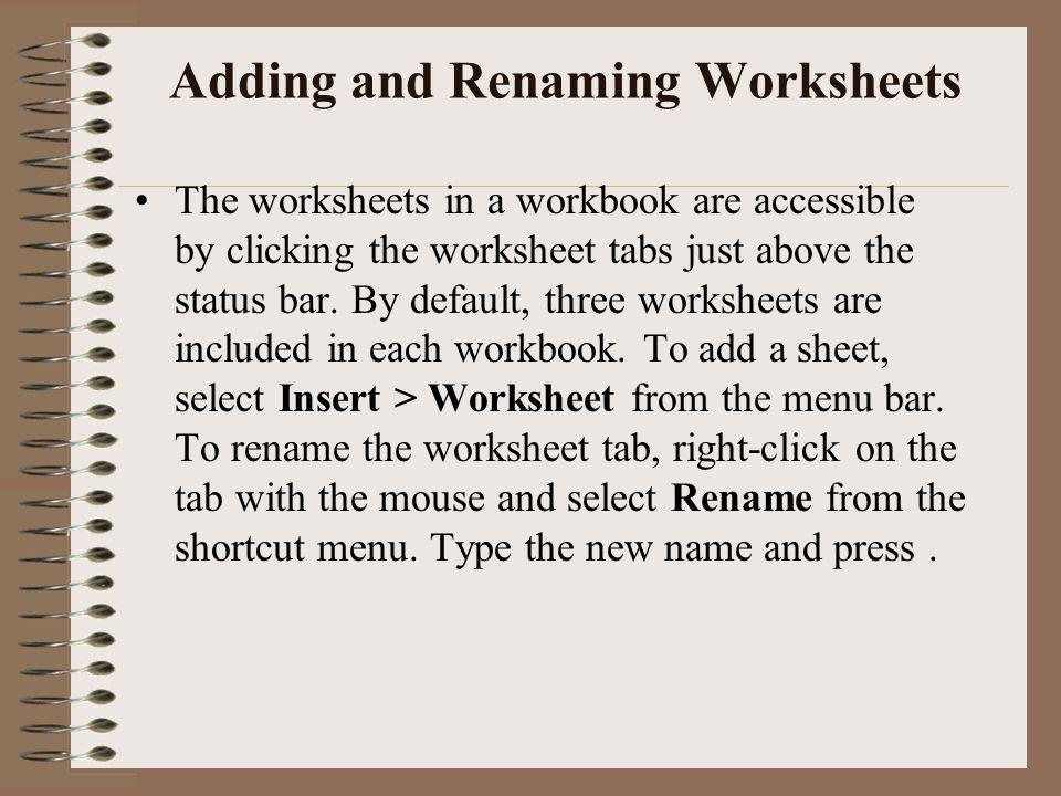 Adding and Renaming Worksheets