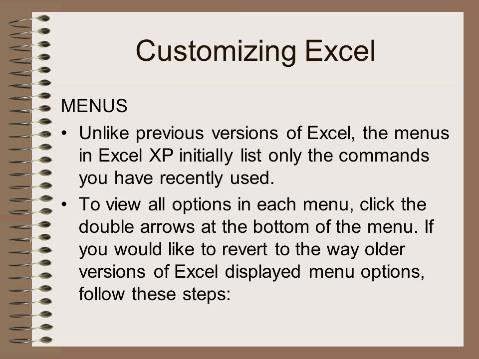 Customizing Excel MENUS