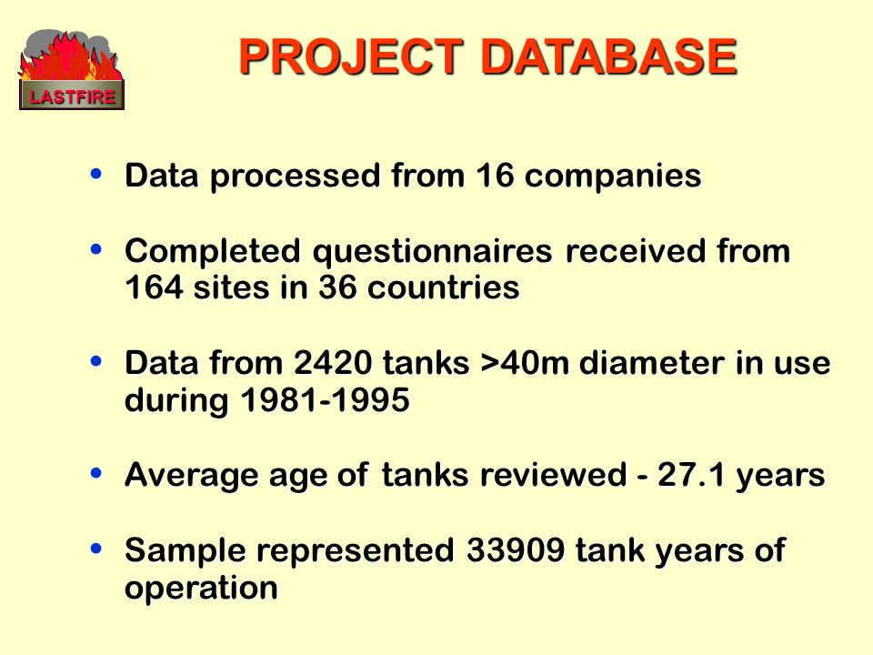 PROJECT DATABASE Data processed from 16 companies