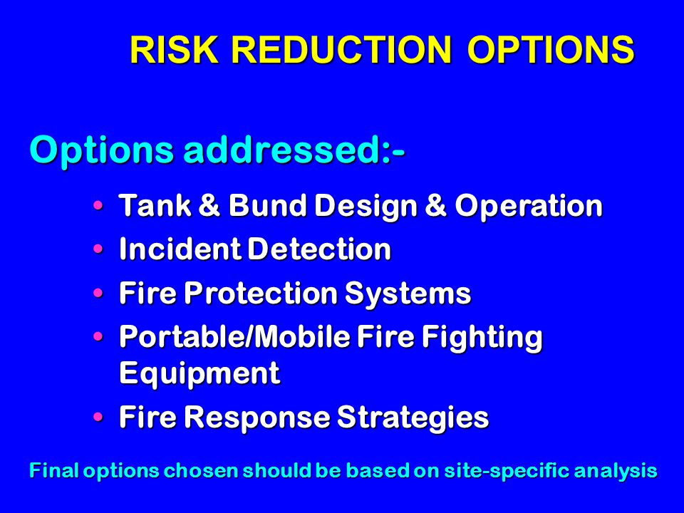 RISK REDUCTION OPTIONS