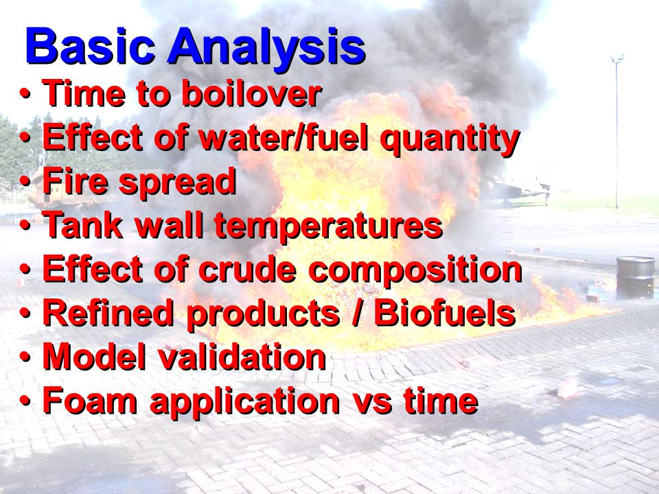 Basic Analysis Time to boilover Effect of water/fuel quantity