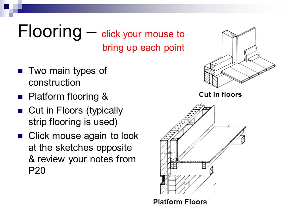 Flooring – click your mouse to bring up each point