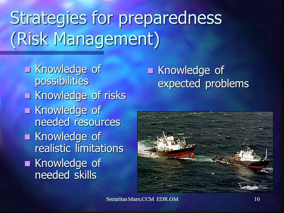 Strategies for preparedness (Risk Management)