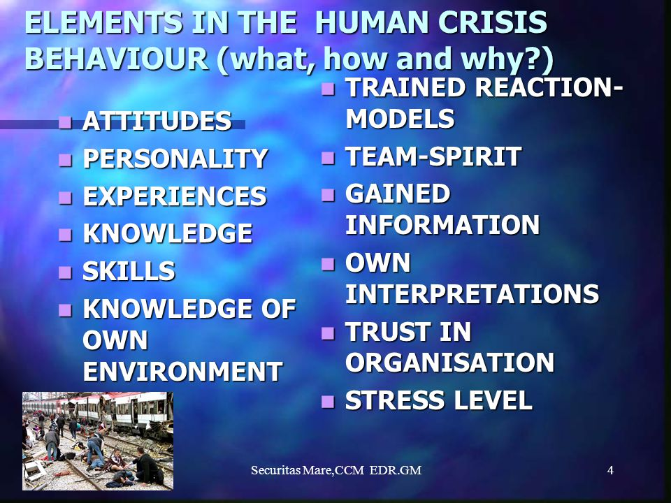 ELEMENTS IN THE HUMAN CRISIS BEHAVIOUR (what, how and why )