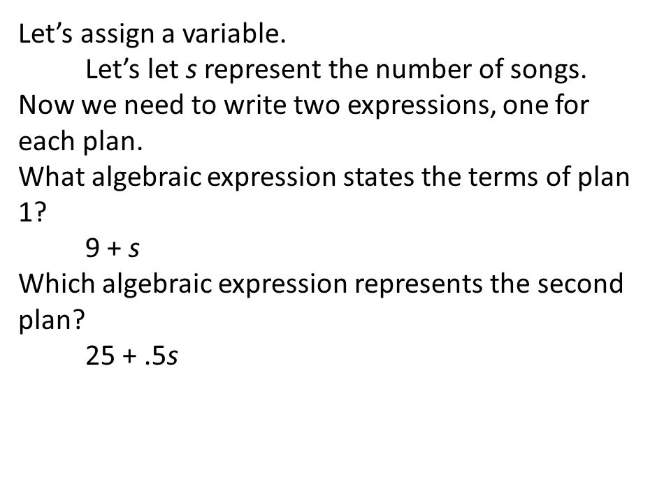 Let's assign a variable.