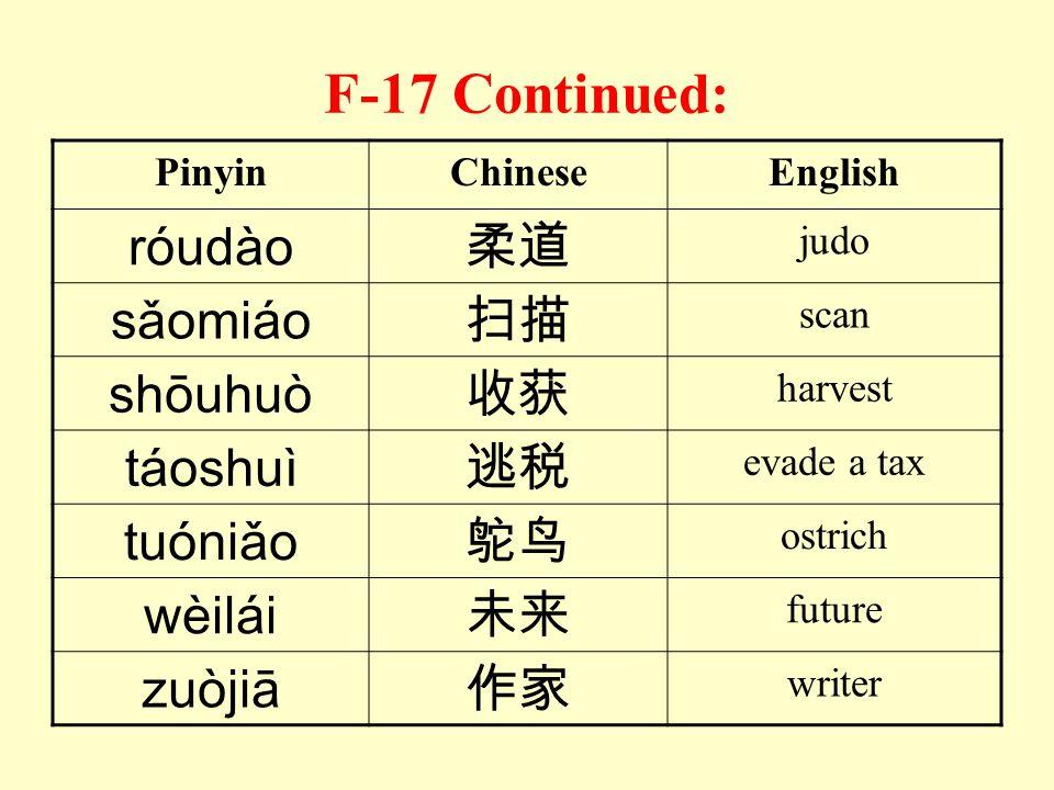 F-17 Continued: róudào 柔道 sǎomiáo 扫描 shōuhuò 收获 táoshuì 逃税 tuóniǎo 鸵鸟