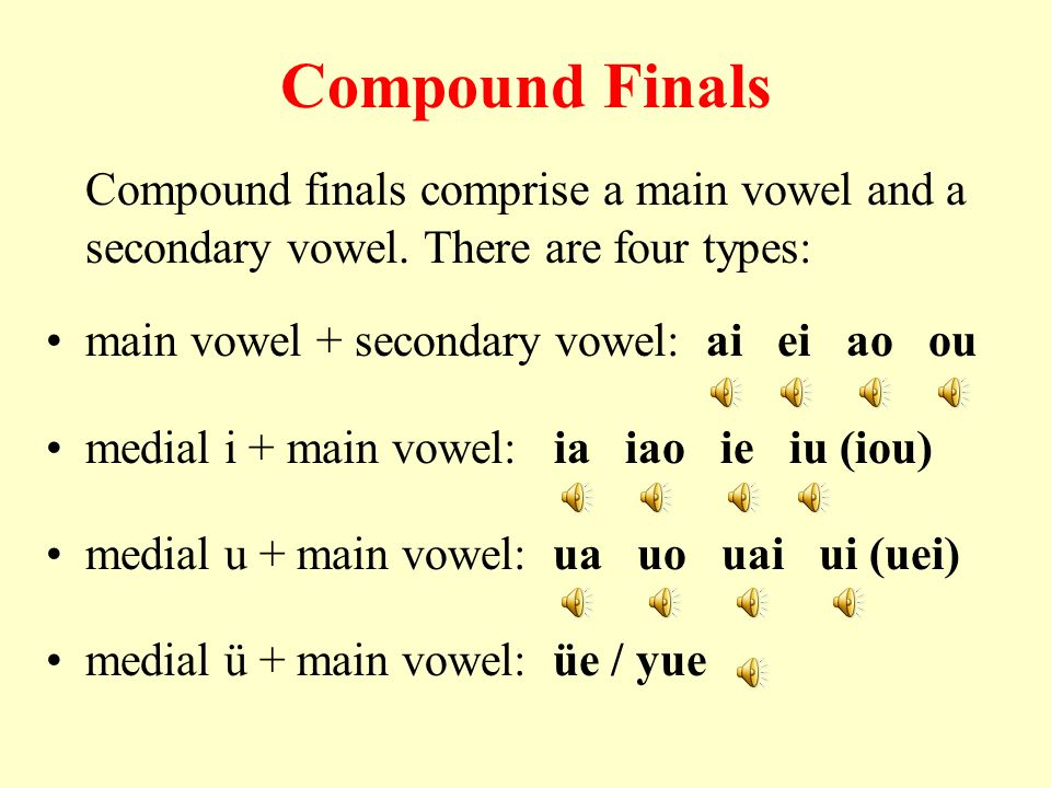 Compound Finals Compound finals comprise a main vowel and a secondary vowel. There are four types: main vowel + secondary vowel: ai ei ao ou.
