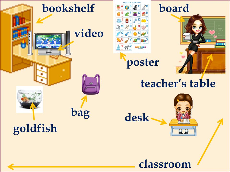 bookshelf board video poster teacher's table bag desk goldfish classroom