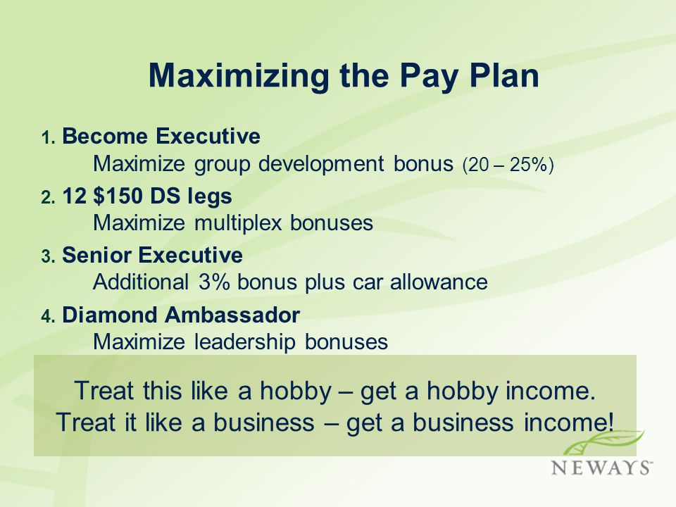 Maximizing the Pay Plan