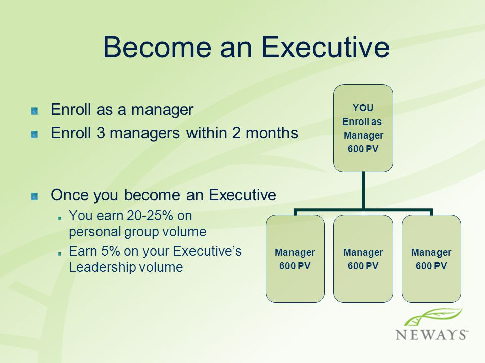 Become an Executive Enroll as a manager