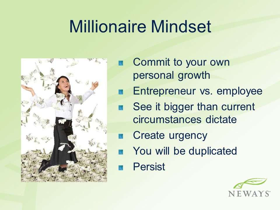 Millionaire Mindset Commit to your own personal growth