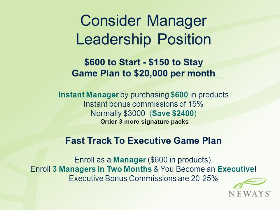 Consider Manager Leadership Position