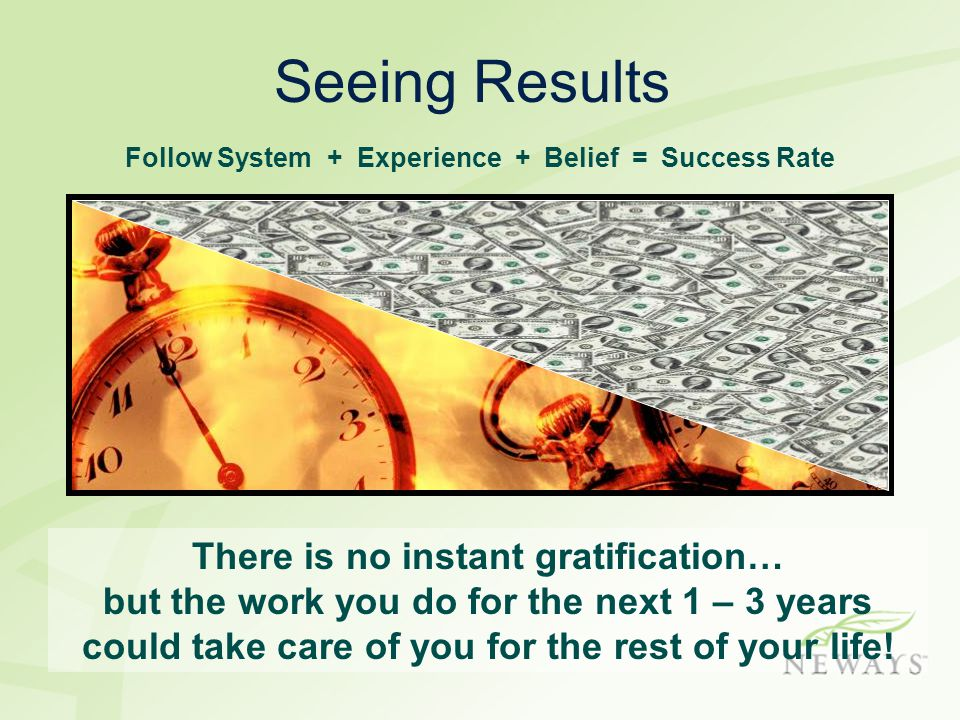 Follow System + Experience + Belief = Success Rate