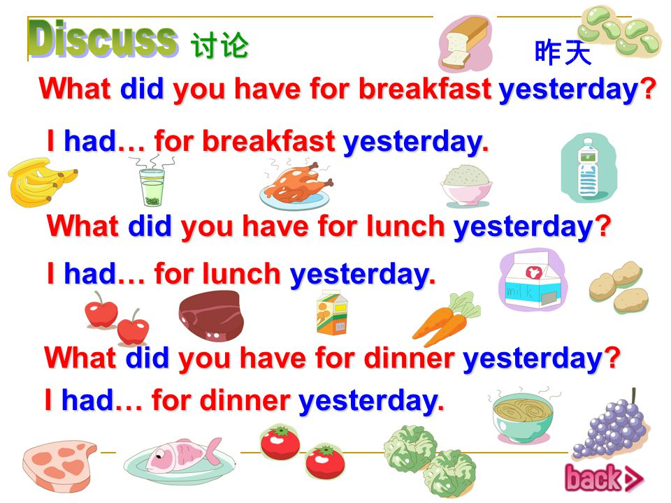 Discuss 讨论 昨天 What did you have for breakfast yesterday
