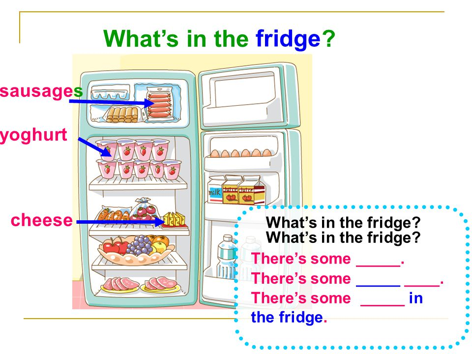 What's in the fridge sausages yoghurt cheese What's in the fridge