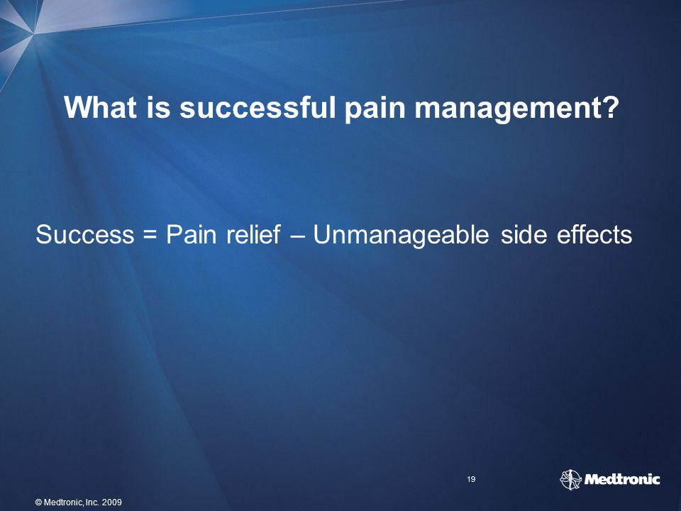 What is successful pain management