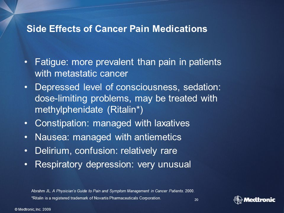 Side Effects of Cancer Pain Medications