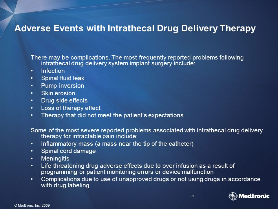 Adverse Events with Intrathecal Drug Delivery Therapy