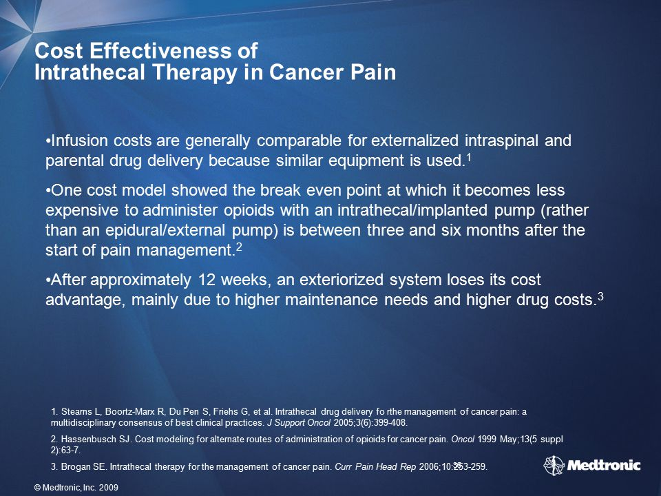 Cost Effectiveness of Intrathecal Therapy in Cancer Pain