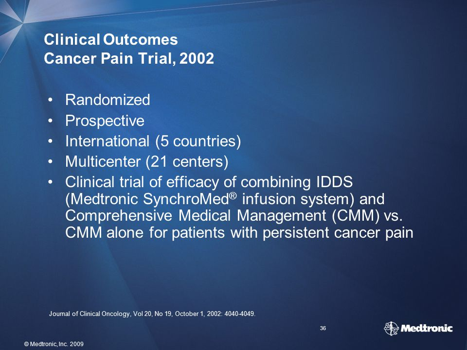 Clinical Outcomes Cancer Pain Trial, 2002
