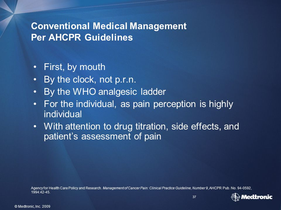 Conventional Medical Management Per AHCPR Guidelines