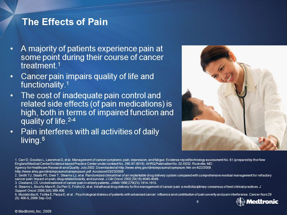 The Effects of Pain A majority of patients experience pain at some point during their course of cancer treatment.1.