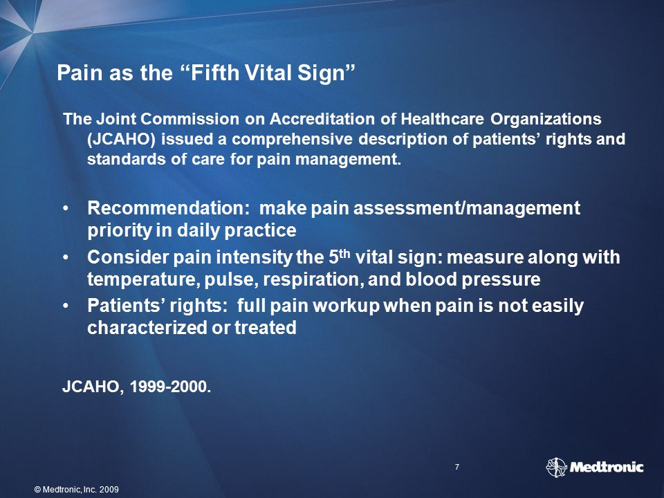 Pain as the Fifth Vital Sign