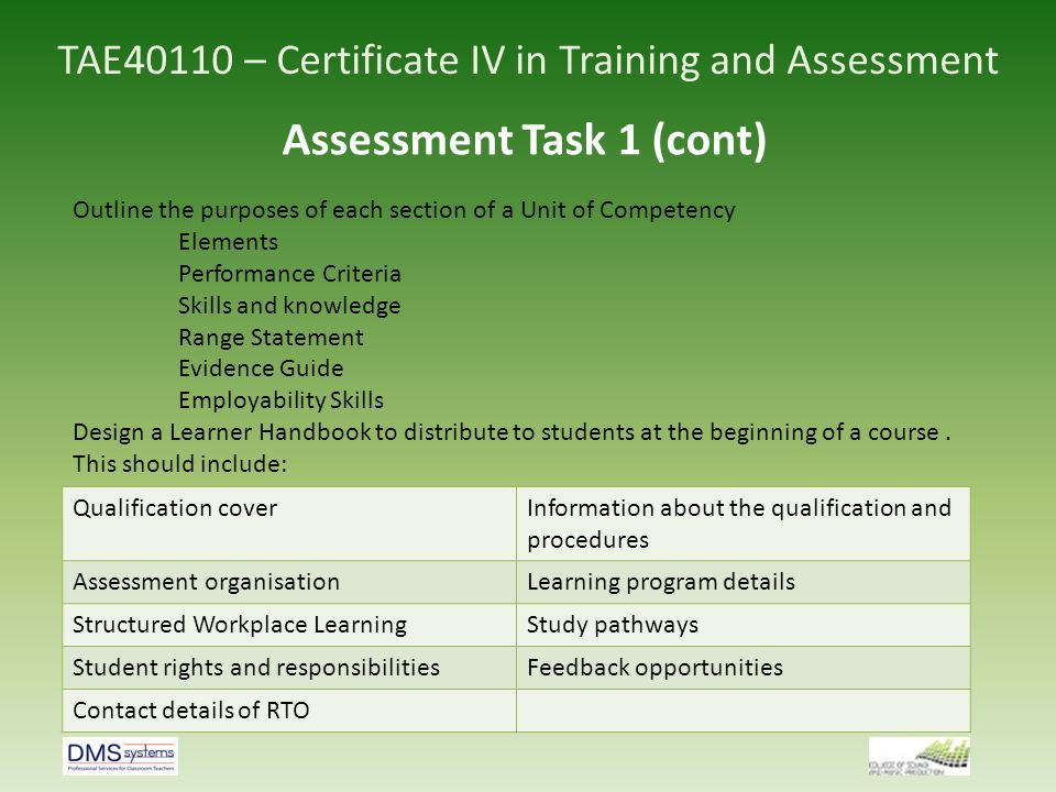 Tae40110 Certificate Iv In Training And Assessment Ppt Video Online Download