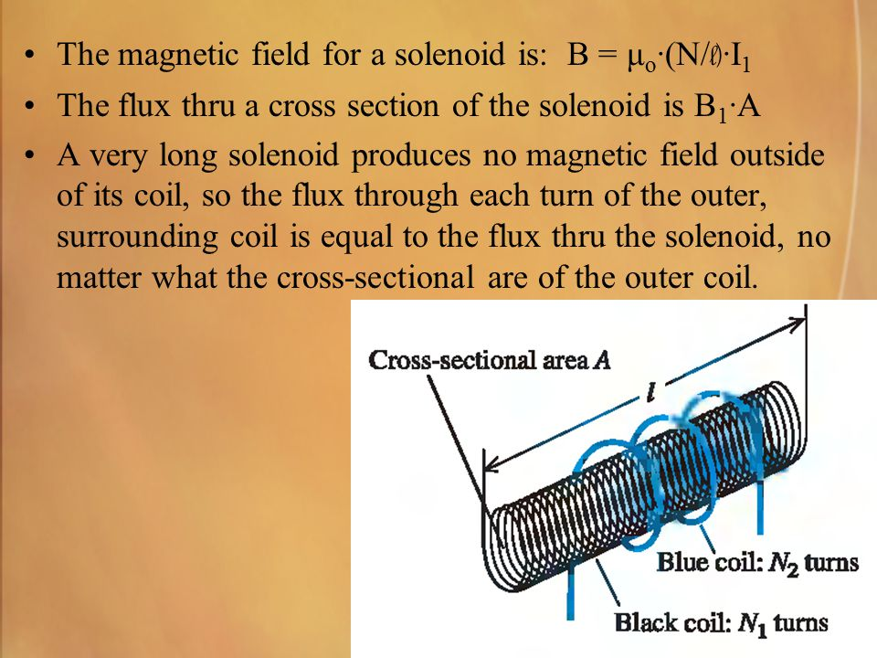 The magnetic field for a solenoid is: B = μo·(N/l)·I1