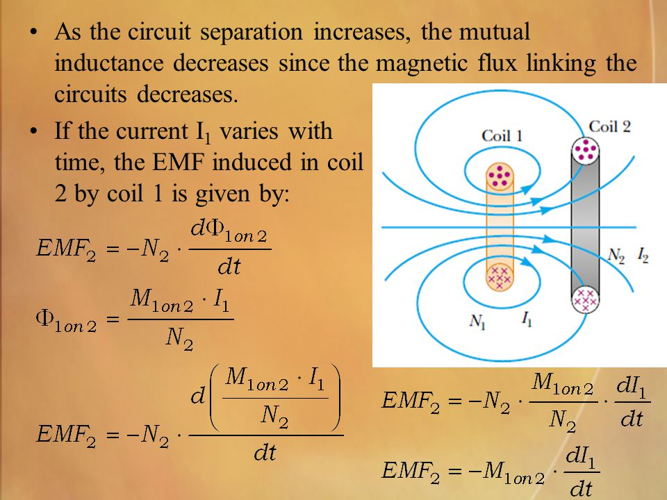 As the circuit separation increases, the mutual inductance decreases since the magnetic flux linking the circuits decreases.