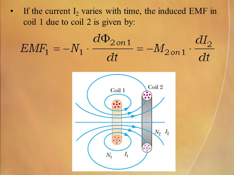 If the current I2 varies with time, the induced EMF in coil 1 due to coil 2 is given by: