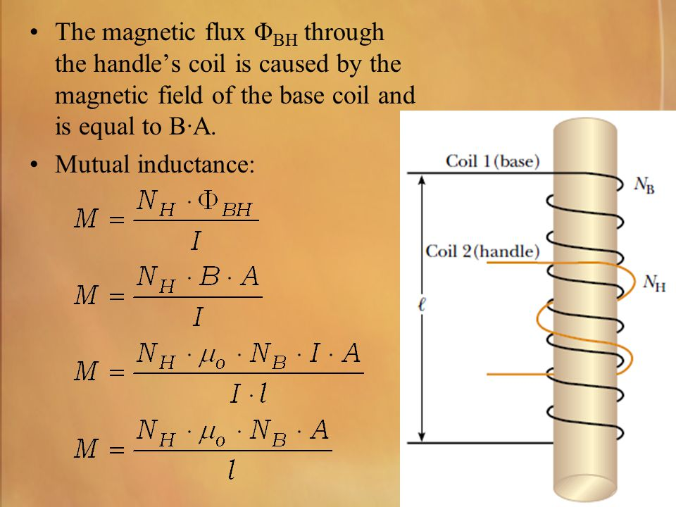 The magnetic flux ΦBH through the handle's coil is caused by the magnetic field of the base coil and is equal to B·A.