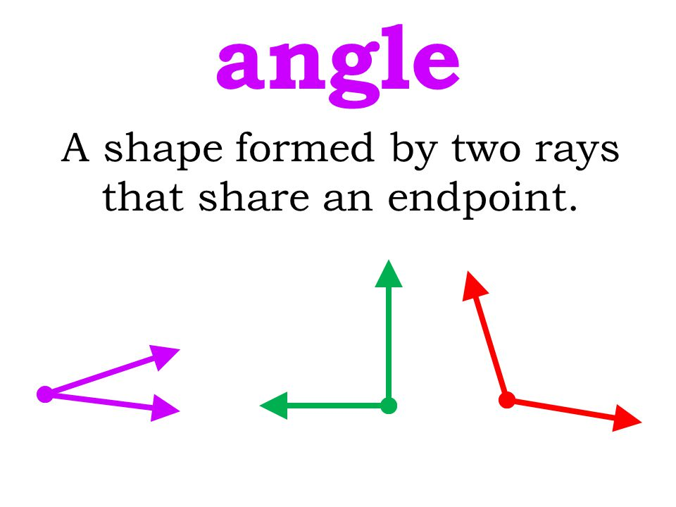 A shape formed by two rays that share an endpoint.