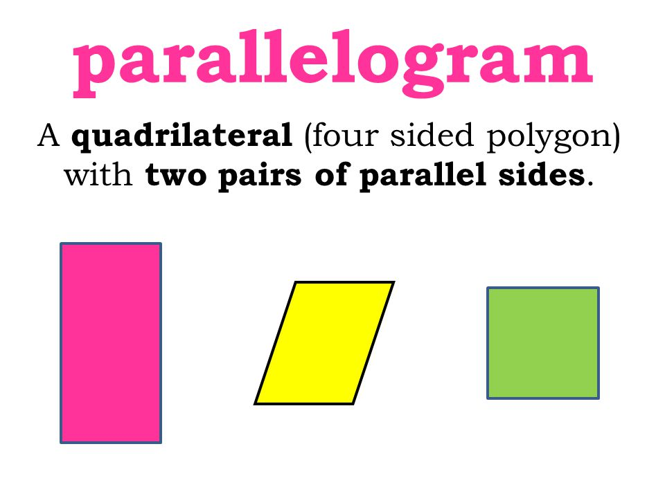 A quadrilateral (four sided polygon) with two pairs of parallel sides.