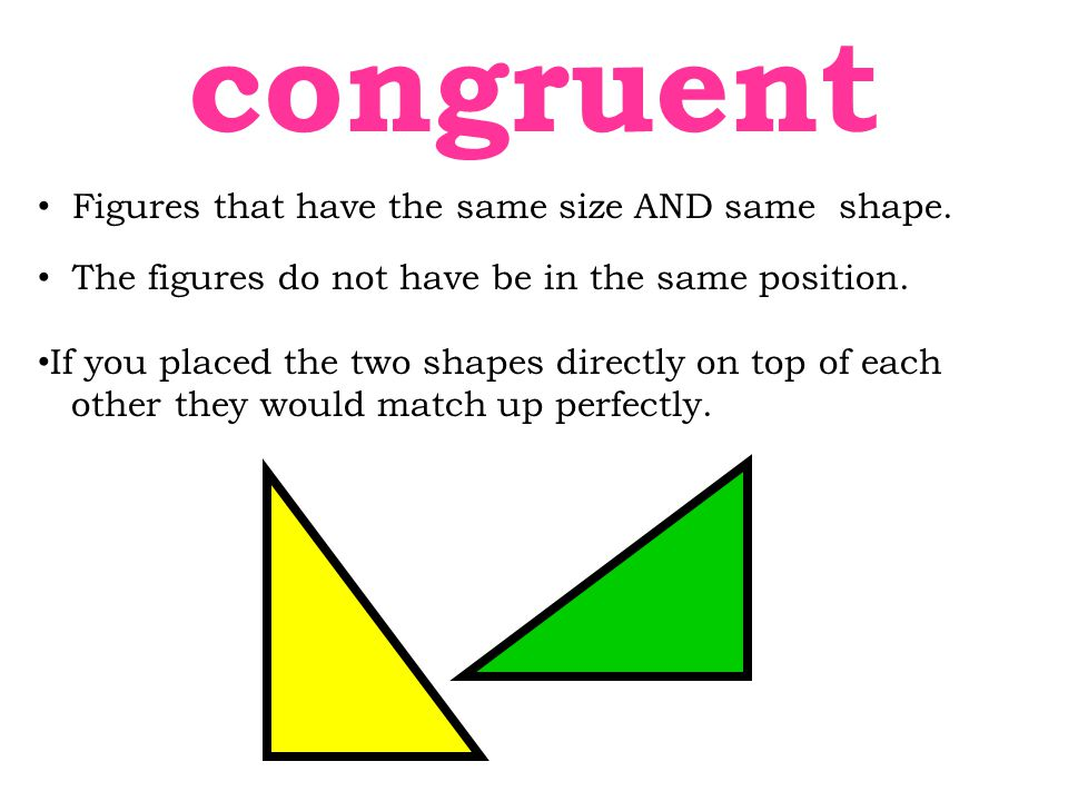 congruent Figures that have the same size AND same shape.